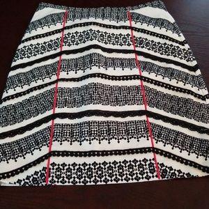 Anthropologie Tabitha White & Black Skirt sz 0